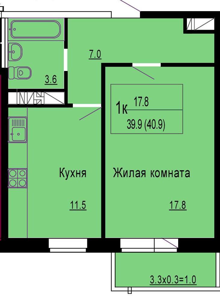 1-к квартира, 40 м?, 15/18 эт. - купить, продать, сдать или .